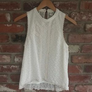 Paper crane lace high neck tank